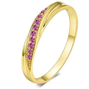 Pave 18k Yellow Gold Plated & Amethyst Zircon Ring